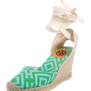 Tory Burch Canvas Espadrille Wedge Sandals Size 7